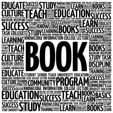 extramural: BOOK word cloud, education concept background Illustration