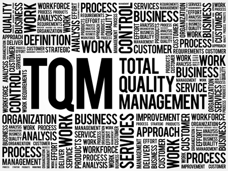 total: TQM - Total Quality Management word cloud, business concept background
