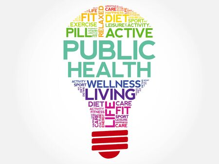 pandemic: Public Health bulb word cloud, health concept background