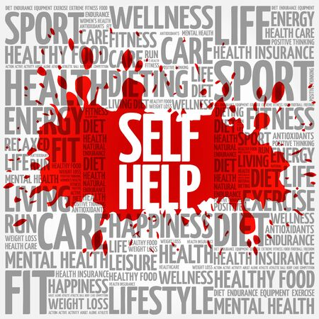 self help: Self Help word cloud, health concept Illustration