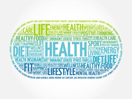 hospital expenses: Health word cloud, fitness, health concept