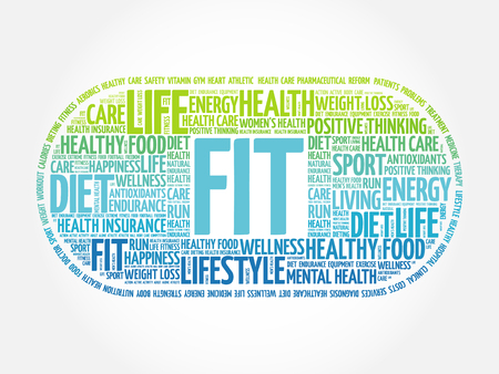 fit: FIT word cloud background, health concept