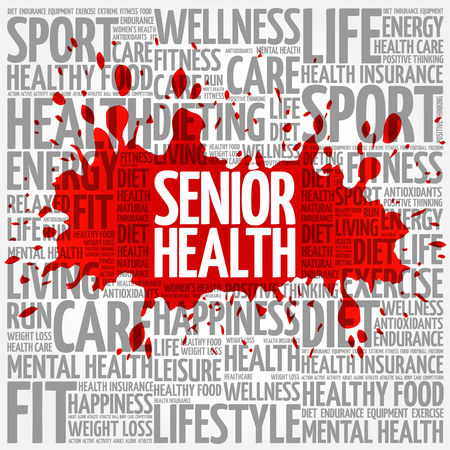 memory loss: Senior health word cloud background, health concept Illustration