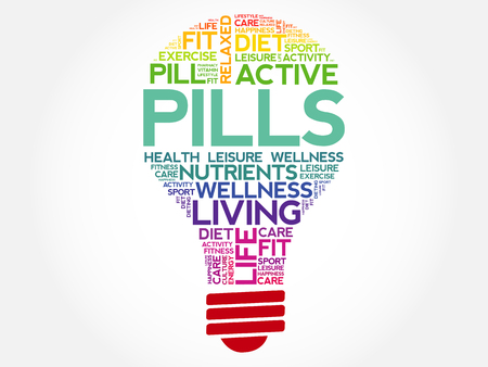 overdose: PILLS bulb word cloud, health concept background Illustration