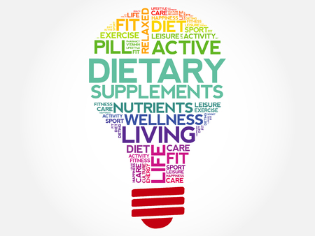 multivitamins: Dietary Supplements bulb word cloud, health concept background