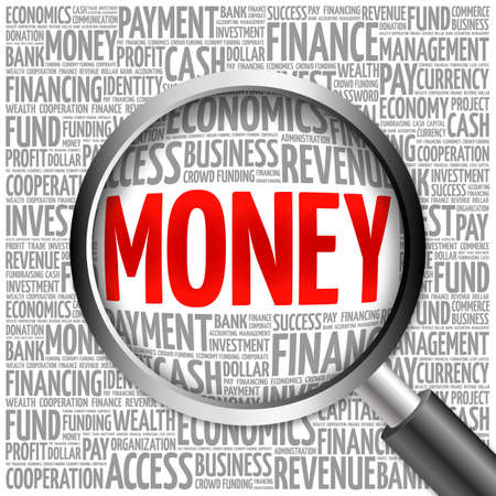 obligee: MONEY word cloud with magnifying glass, business concept 3D illustration