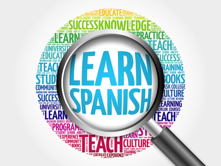 Learn Spanish word cloud with magnifying glass, education concept 3D illustration
