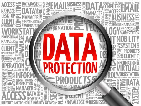 encoding: Data protection word cloud with magnifying glass, business concept 3D illustration