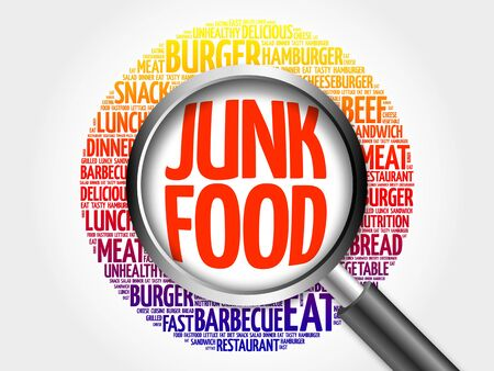 JUNK FOOD word cloud with magnifying glass, food concept 3D illustration
