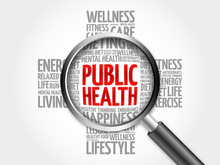 salud publica: Public Health word cloud with magnifying glass, health cross concept 3D illustration