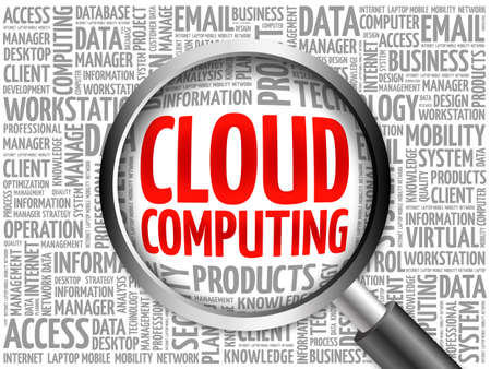 hardware store: Cloud Computing word cloud with magnifying glass, business concept 3D illustration