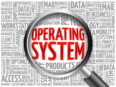 operating system: Operating System word cloud with magnifying glass, business concept 3D illustration Stock Photo