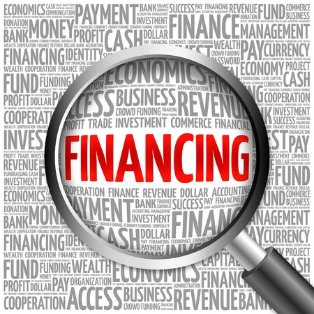 financing: FINANCING word cloud with magnifying glass, business concept 3D illustration