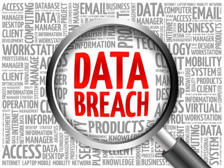 breach: Data Breach word cloud with magnifying glass, business concept 3D illustration
