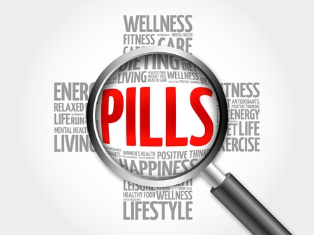PILLS word cloud with magnifying glass, health cross concept 3D illustration