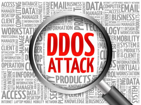 ddos: DDOS Attack word cloud with magnifying glass, business concept 3D illustration