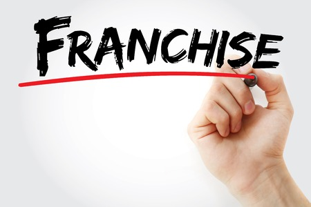 concession: Hand writing Franchise with marker, business concept