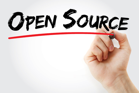 Hand writing Open Source with marker, business concept Stock Photo
