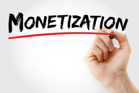 monetize: Hand writing Monetization with marker, business concept Stock Photo