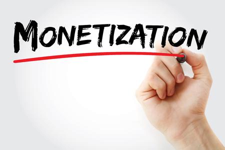 monetizing: Hand writing Monetization with marker, business concept Stock Photo