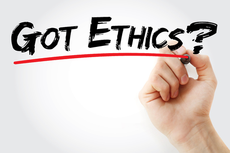 scruples: Hand writing Got Ethics? with marker, business concept Stock Photo