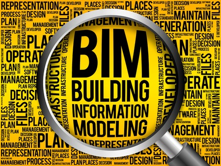 developement: BIM - building information modeling word cloud with magnifying glass, business concept