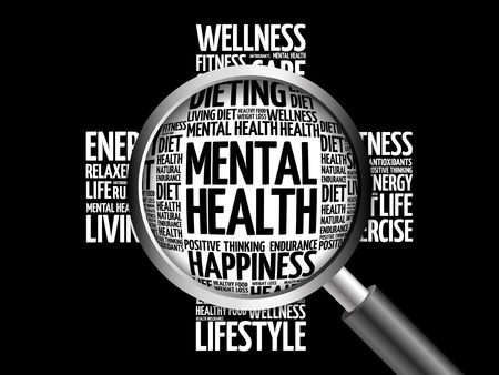 Mental health word cloud with magnifying glass, health concept 3D illustration