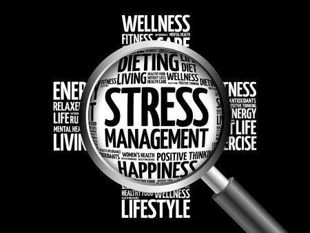 Stress Management word cloud with magnifying glass, health concept 3D illustration