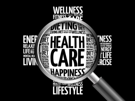 Health care word cloud with magnifying glass, health concept 3D illustration
