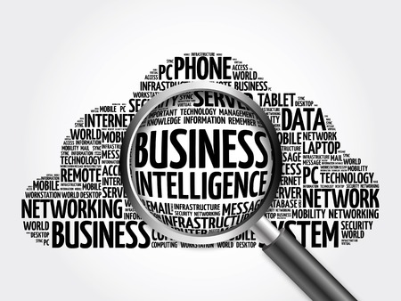 Business intelligence word cloud with magnifying glass, business concept 3D illustration