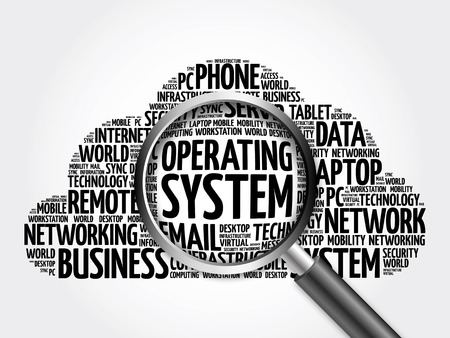 Operating System word cloud with magnifying glass, business concept 3D illustration Stock Photo