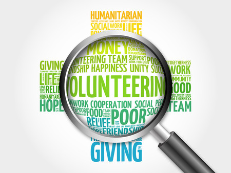 volunteering: Volunteering word cloud with magnifying glass, cross concept 3D illustration Stock Photo