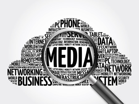 wiki: MEDIA word cloud with magnifying glass, business concept 3D illustration