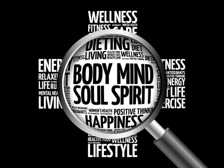 mind body soul: Body Mind Soul Spirit word cloud with magnifying glass, health concept 3D illustration Stock Photo