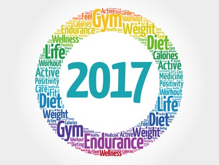 health collage: 2017 word cloud collage, health concept background