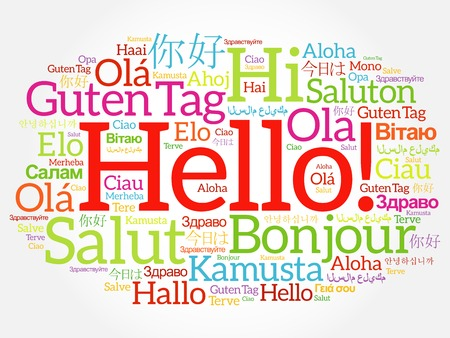 Hello word cloud collage in different languages of the world, background concept Vectores