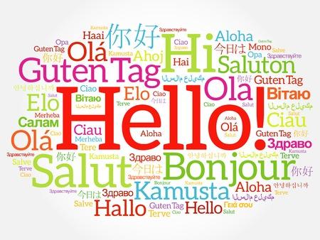 Hola collage de la palabra nube en diferentes idiomas del mundo, el concepto de fondo