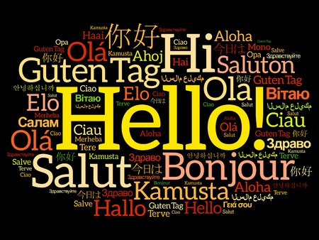 Hello word cloud collage in different languages of the world, background concept Çizim