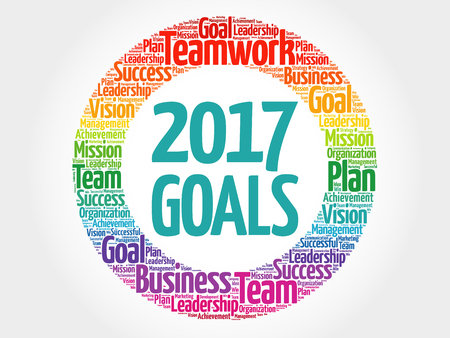 2017 Goals word cloud collage, business concept Illustration
