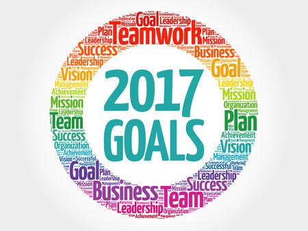 2017 Objetivos de la nube de palabra collage, concepto de negocio