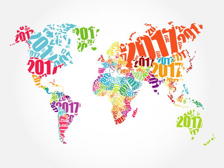 word: 2017 Happy New Year, World Map in Typography word cloud collage concept