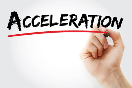 handwrite: Hand writing Acceleration with marker, business concept Stock Photo