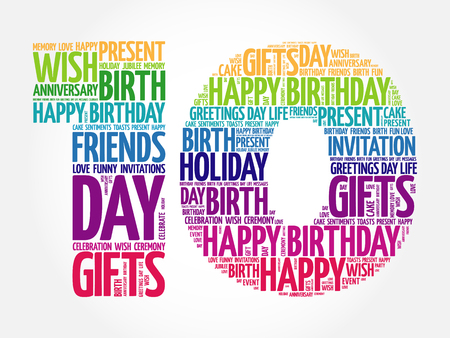 Happy 10th birthday word cloud collage concept