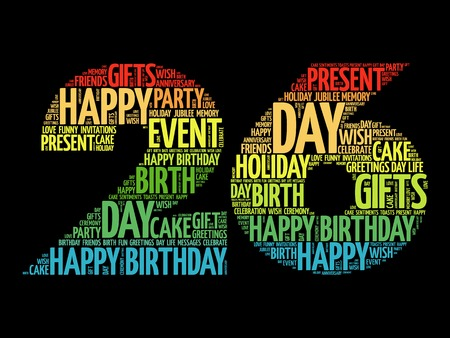 merriment: Happy 26th birthday word cloud collage concept