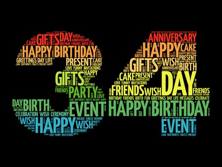 Happy 34th birthday word cloud collage concept