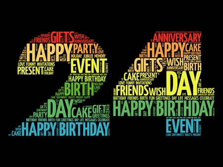 merriment: Happy 24th birthday word cloud collage concept