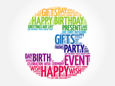 merriment: Happy 3rd birthday word cloud collage concept