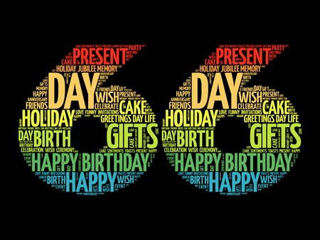 Happy 66th birthday word cloud collage concept
