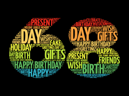Happy 68th birthday word cloud collage concept Illustration