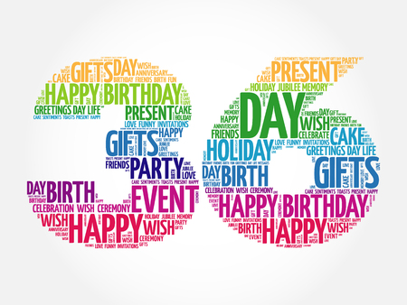 36: Happy 36th birthday word cloud collage concept Illustration